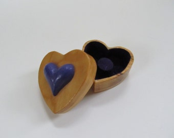 Wood Ring Box Heart Shaped Ring Box Hand Made Hand Carved Wedding Engagement Anniversary Gift for Her Gift for him  For Someone Special