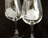 Octopus Tentacle Tentacles Custom Etched  Wine Glass Goblet set of 2 Limited Quantities