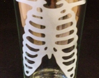 Anatomical Rib Cage Body Part Custom Etched Pint Glass Halloween