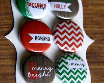 Chevron & Woodgrain Christmas Flair Buttons