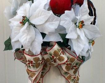 Christmas Floral Arrangement Cardinal  White Pitcher White Poinsettia, Holiday Ribbon, Centerpiece, Winter Wedding