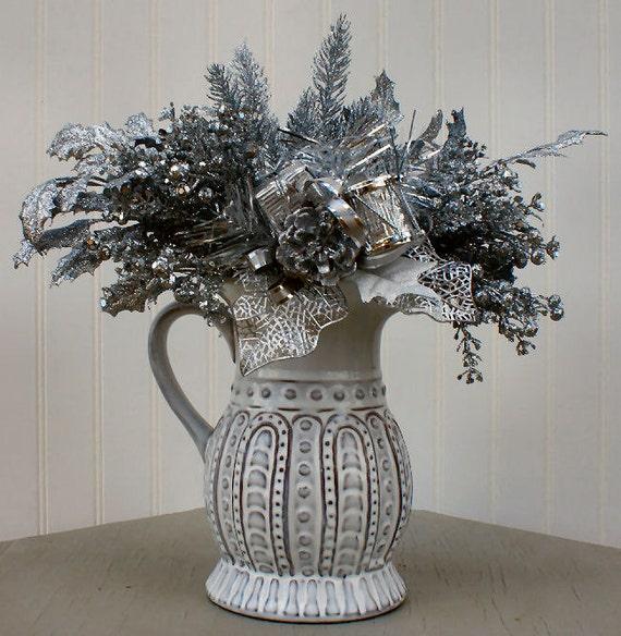christmas floral arrangement silver sparkle pitcher