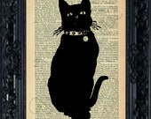 Vintage Dictionary Page Print - Black Cat - No.8B - BUY 2 GET 1 Free - Dictionary Art Print - Wall Hanging - Home Decor - Illustration Art