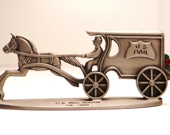 Hallmark U.S. mail wagon 1981, pewter, Christmas packages