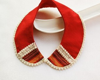 Red  Peter Pan Collar, Lace,  Pearls  Embroidered, Fabric Fashion Collar Necklace, col claudine
