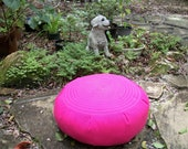 Zafu Meditation Cushion in Pink Twill with Machine Quilted Spiral Design. UNFILLED Cover Only. Sidewall Zipper. Handmade, USA