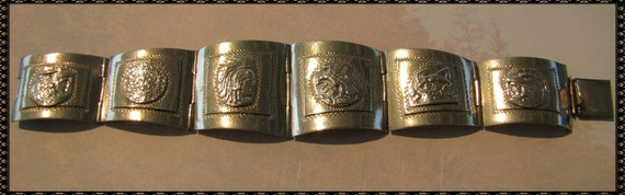 Vintage Mexican Sterling Silver  .925 Taxco Mayan Aztec Panel Bracelet