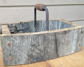 Rustic Tray Basket with Reclaimed Wood, Vintage Tool Handle, and Copper Accents