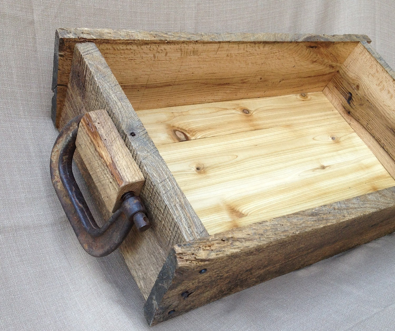 Rustic Light Industrial Chandelier Rope Pulley Yoke Wood Metal: Rustic Wood Tray Box Reclaimed Oak And Re-purposed Metal Tool