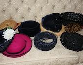 Vintage Lot Ladies Hats 1950s Fashion Velvet Straw Feather