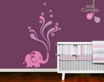 "Baby Nursery Wall Decal - Elephant Wall Decal - Elephant Decal - Nursery Wall Sticker - Large: 64"" high and 37"" wide - K011"