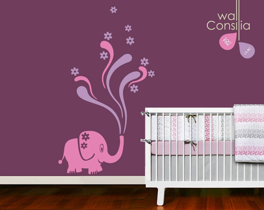 Baby nursery wall decal elephant wall decal elephant decal for Funny elephant wall decals for nursery