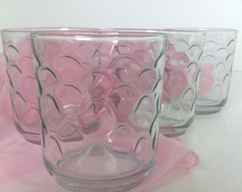 Vintage Libbey Inside Raised Scallop Patterned Tumblers Small Rocks Juice Glasses set of 6, Trending Vintage