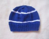Blue and White Toddler Beanie for Boys. Beanies for Kids. Blue Beanie for Children. Beanie with Stripes.
