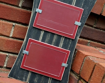 Picture Frame - Distressed Wood - Curved Sides - Holds 2 - 4x6 Photos - Black & Barn Red