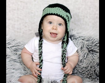 Frankenstein Earflap hat- Made to Order- Any size