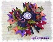 Halloween Hair bows - Pumpkin Hair Bows - Halloween stcaked boutique hair bows - Jack o Lantern Hair bows - Trick or treat Hairbows