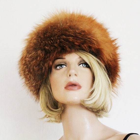 Vintage 1960s Foxy Red Fox Fur Hat