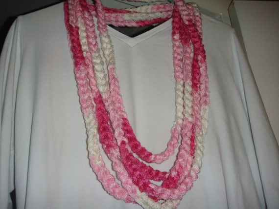 Crochet Scarf Pattern Using Red Heart Sashay : Items similar to Crochet scarf/necklace with Red Heart ...
