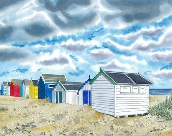Beach Huts Seaside Limited Edition Giclee Print Coastal Painting