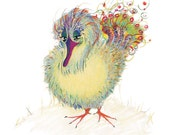 The Harmony Bird - Complaining Does Not Help -  Original Color Pencil Drawing - 8 x 6 inch - Print