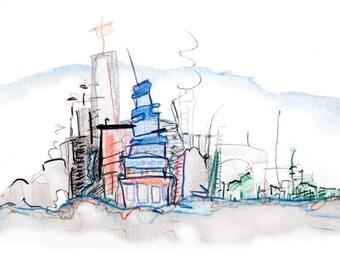 Horizon City 4 - Original mixed media Drawing - 7/6 x 5/7 inch - Print