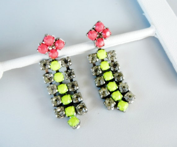 Vintage One Of A Kind Neon Yellow and Neon Pink Rhinestone Drop Earrings
