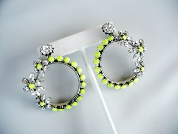 Over The Top Vintage 1950s One Of A Kind Fabulous Neon Yellow Circle Rhinestone Earrings