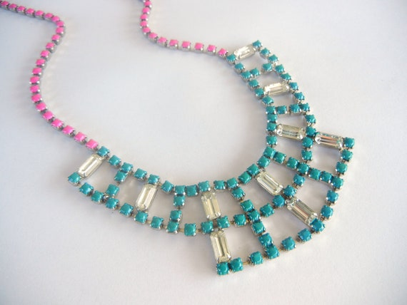 FACEBOOK SALE Vintage 1950s One Of  A Kind  Hand Painted Teal and Fucsia Rhinestone Necklace SALE was 69