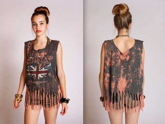 Fringed Rolling Stones Acid Wash Top