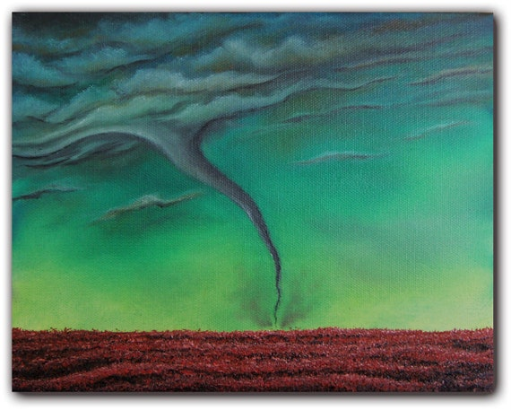 Original Stormscape Oil Painting, Contemporary Tornado Art, Abstract Midwest Fields, Tornado Landscape Painting, 8 x 10, Inside Out