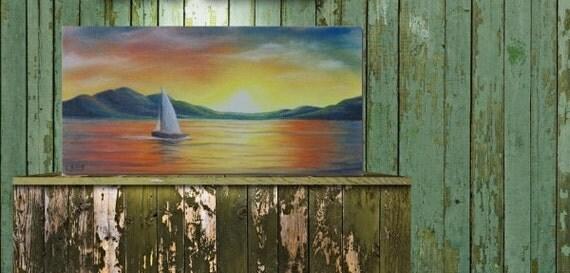 Contemporary Art Seascape Painting, Sailboat Art Boat Painting, Sunset Sky Oil Painting, Nautical Art Wall Decor, Maritime Art, 6 x 12