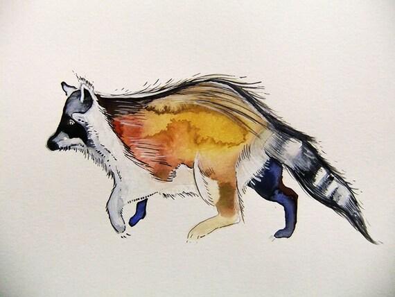 Raccoon-Original Watercolor Painting