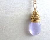 Lilac Chalcedony Necklace Wire Wrapped Lavender Briolette Gold Filled Gemstone Jewelry