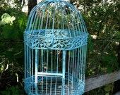 Victorian Large Shabby Aqua Bird Cage /Wedding/Beach Decor/Garden