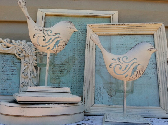 Two French Hens Candle Holders/ Bird Votive Cup Holders / White Shabby Chic Birds