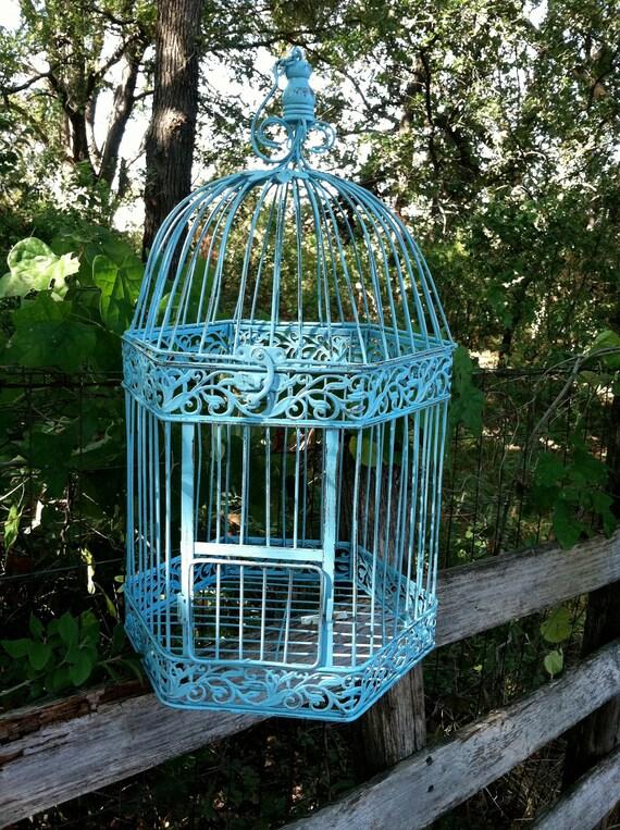 Victorian Large Shabby Aqua Bird Cage Wedding Beach