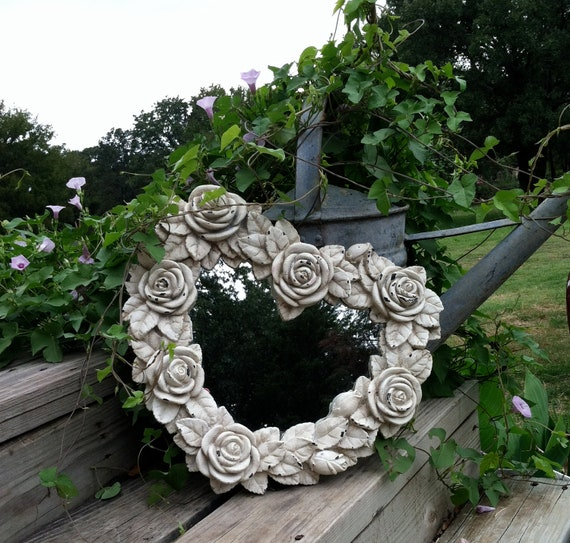 Heart Shaped Baroque Mirror with Roses / Shabby Chic White  / Chippy Paint