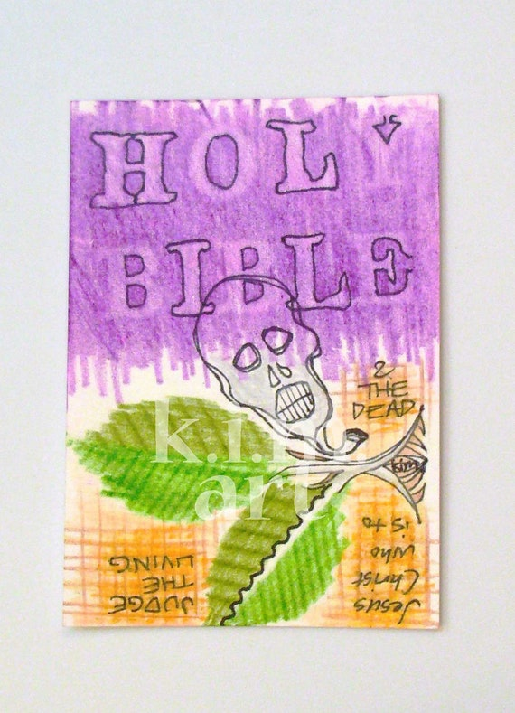 BIBLEPUNK 5 original aceo atc Christian Holy Bible punk black purple violet lavender green yellow orange brown silver gray skull leaf leaves