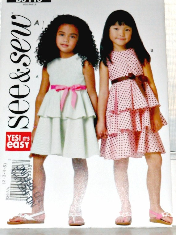 Girl's Tiered Ruffled Sleeveless Dress Sewing Pattern See and Sew 5443 Size 2 3 4 5