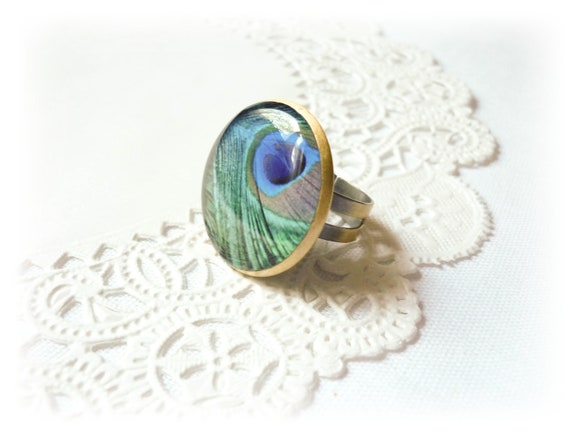 Peacock ring, peacock feather, adjustable ring, gift for her