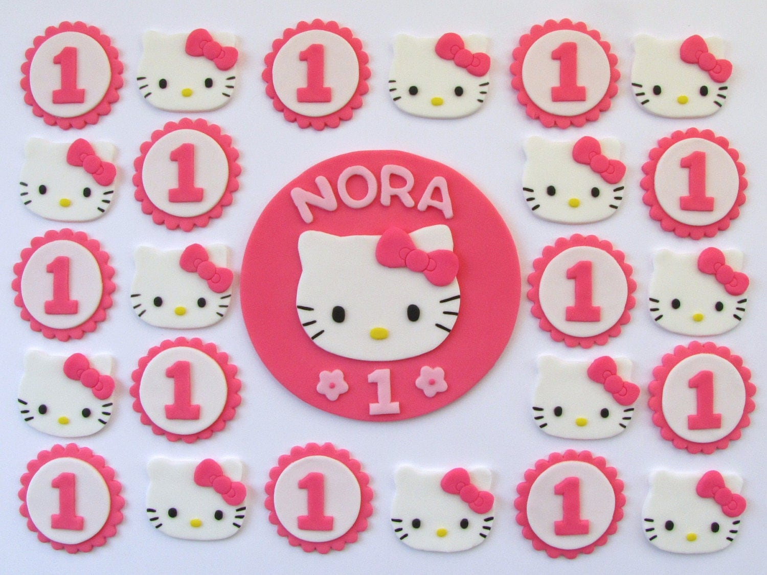 Fondant Cake Cupcake Toppers Hello Kitty by TopItCupcakes ...
