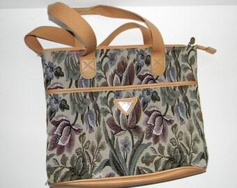 Summer SALE Vintage Tote Summer Tapestry Luggage Beach Bag Floral Summer Bag Shoulder Bag 90s Handbag. Boho Bag Vegan Friendly