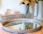 Mirrored Tray and Tissue Box, Vintage Brass painted, Antique white, distressed, 2 pc bathroom vanity set