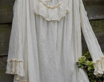 RITANOTIARA Victorian New Romantic Gothic  Pirate Poet Artist Dandy Shirt cotton & silk voile Opal Pearl OSFA