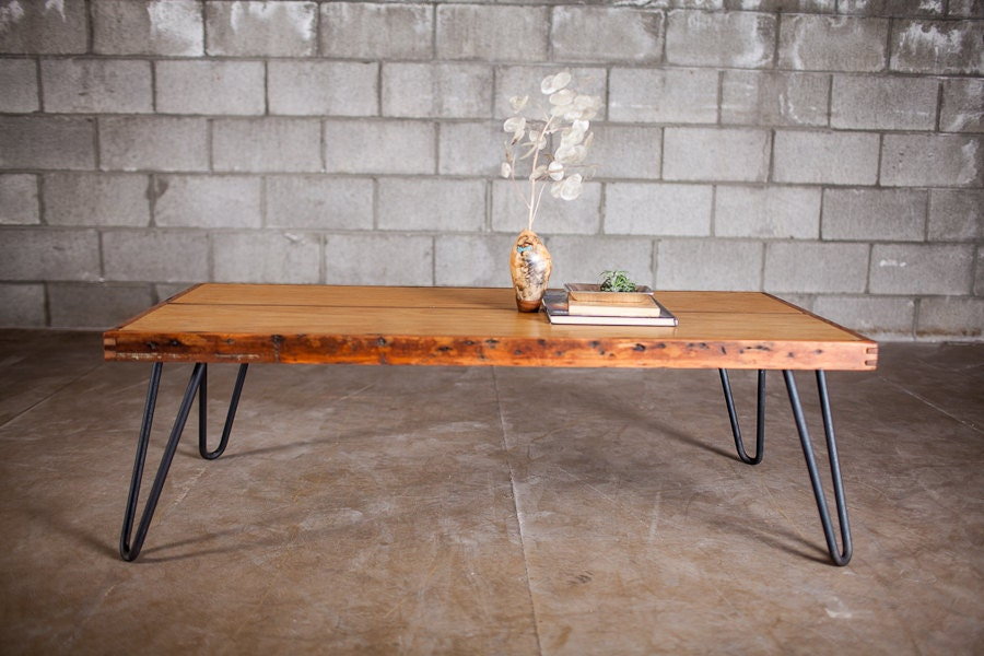 Reclaimed Door Coffee Table On Hairpins