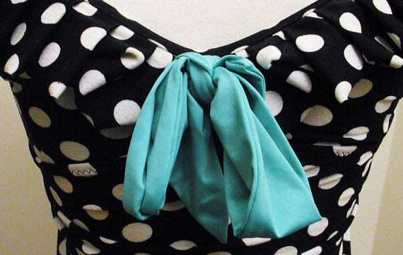 Awesome BETSEY JOHNSON Polka DOT Swim Dress with Teal Bow, Ruffles and Gold Hearts xs-m