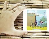 "Biker Gang postcard, desert bicycle print, succulent 4'x5"" bike decor"