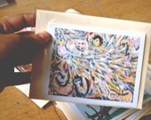 Squid greeting card, abstract print, pastel, surreal art