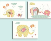 "Nursery Art Print, Baby Shower, Elephant Nursery Decor. Kids Room Picture. Girls Bedroom Wall art, Set of 3 5x7"" Prints, Baby Shower"